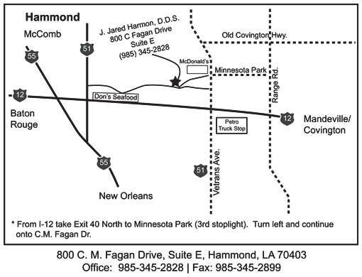 Lakeshore Endodontics Map for Hammond, LA